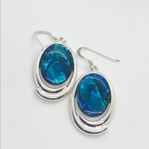 Paua Blue Earrings - Large Oval PE17-LV